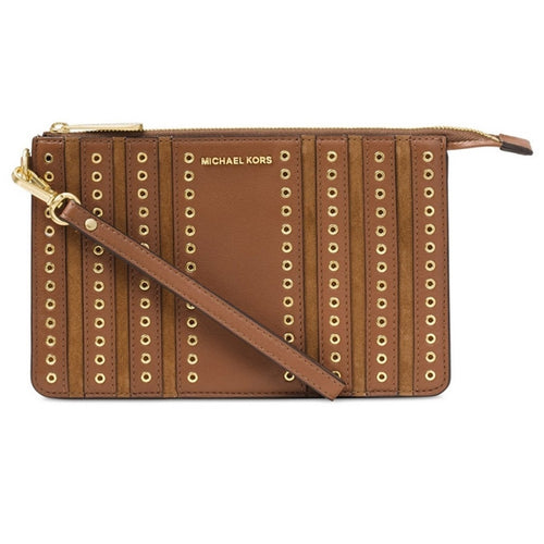 MICHAEL KORS Dark Caramel Medium Brooklyn Grommet Wristlet