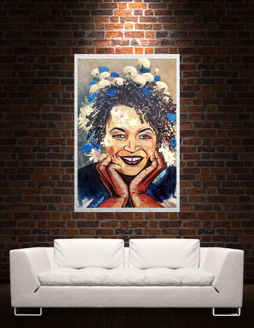 Stacy Abrams 'She Blooms Blue' Original Print
