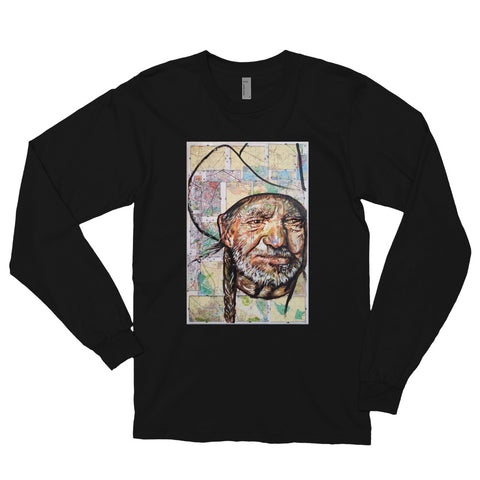 Chacasso - Willie Nelson on Map Long sleeve t-shirt