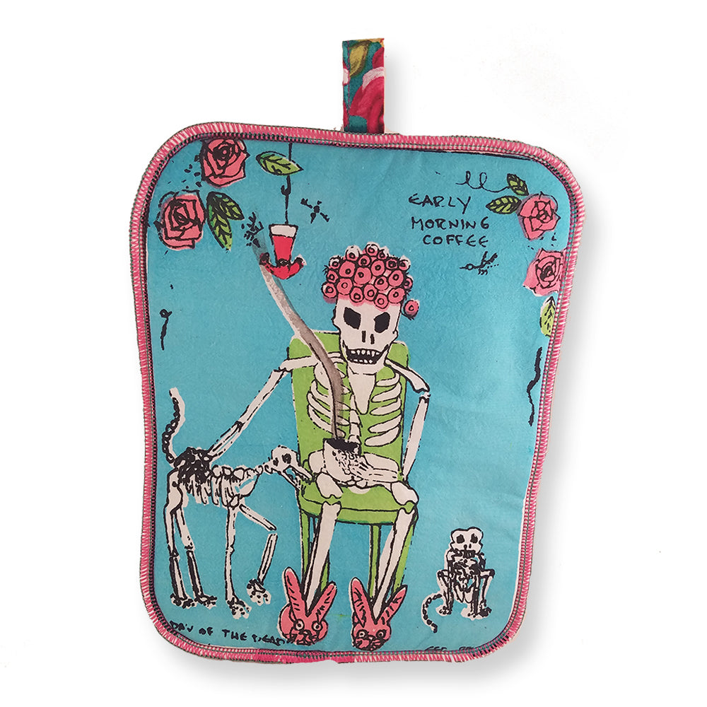 Skeleton & Coffee Potholder