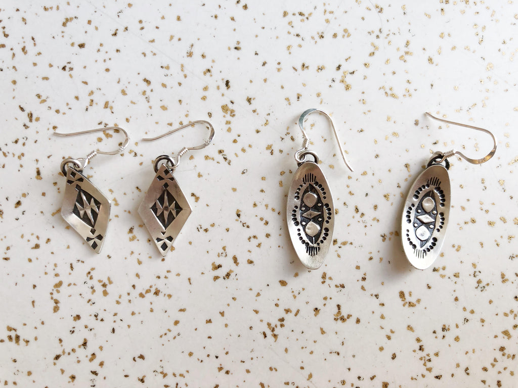 Silver Stamped Earrings