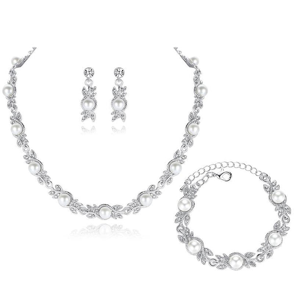 Elegant Leaf Simulated Pearl 3 Pc. Set