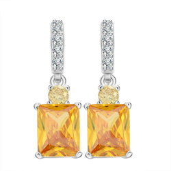 Yellow Zircon Platinum Plated Earrings