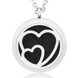 2 Hearts Essential Oil Diffuser Necklace