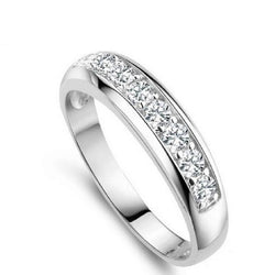 Cubic Zirconia Sterling Silver Wedding Band