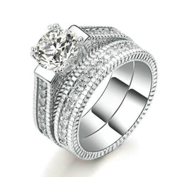 White Gold Plated Cubic Zirconia Wedding Set