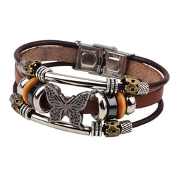 Leather Braided Butterfly Charm Bracelet