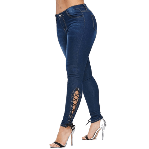 Jeans with Side Lace Up Detailing