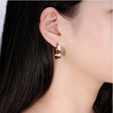 Oval Gold and Silver Stainless steel earrings