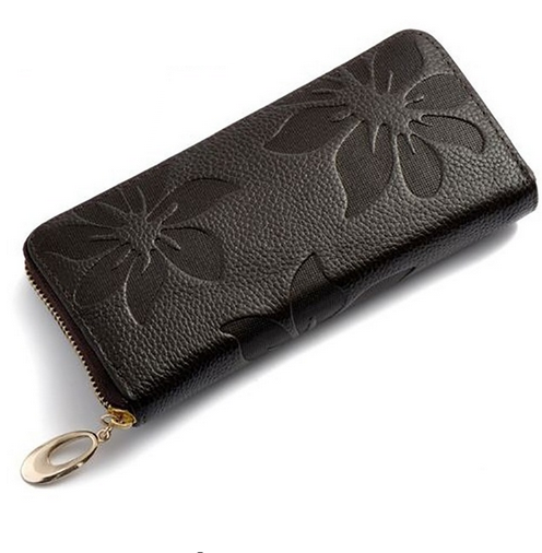 Genuine Leather Flower Embossed Wallet