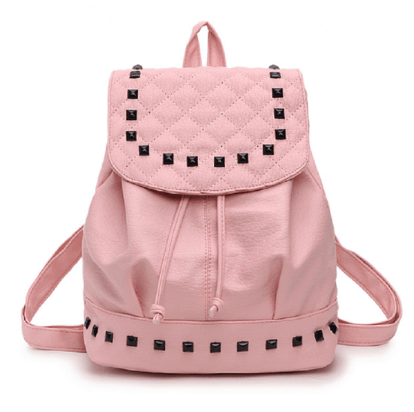 Quilted Backpack with Rivet Detailing