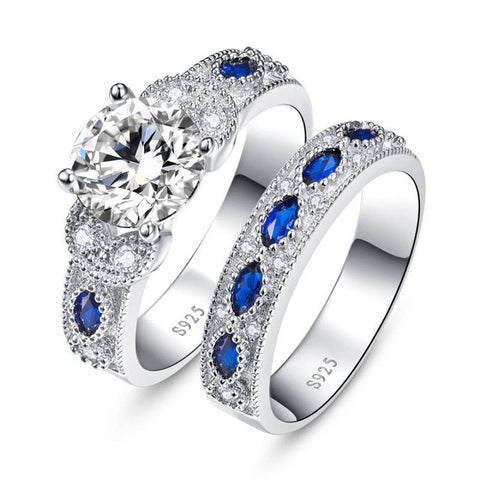 Sapphire Sterling Silver 2 pc. Wedding Set