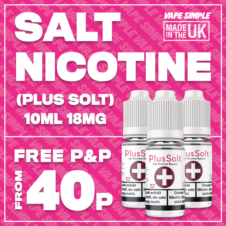 18MG Salt Nicotine Shot 10ml 70/30 VG/PG | PlusSolt+ Flavourless Salt Nic Shots