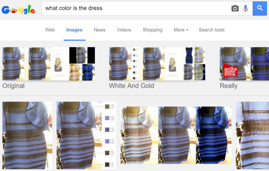 what color is the dress Google Search