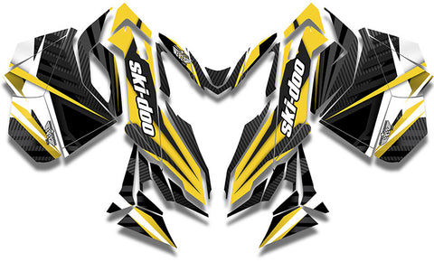 Carbon Yellow Ski-Doo REV-XM Sled Wrap - SCS Unlimited