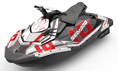 Racing Numbers Grey Sea-Doo SPARK Graphics Kit