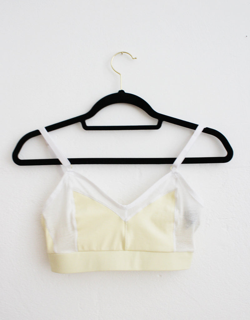 Almond Organic Cotton Bralette with White Tencel Mesh and Underband Front Tizz and Tonic Made in Germany