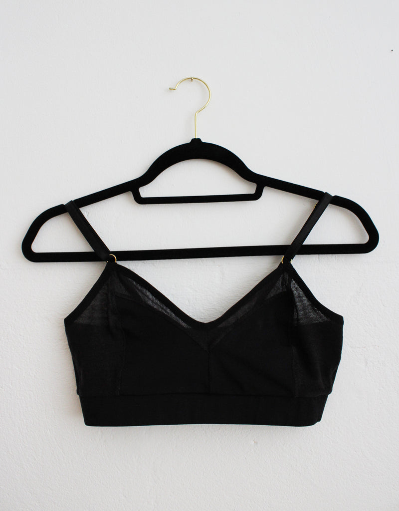 Ebony Black Organic Cotton Bralette with Black Tencel Mesh Plush Underband Front Tizz and Tonic Made in Germany