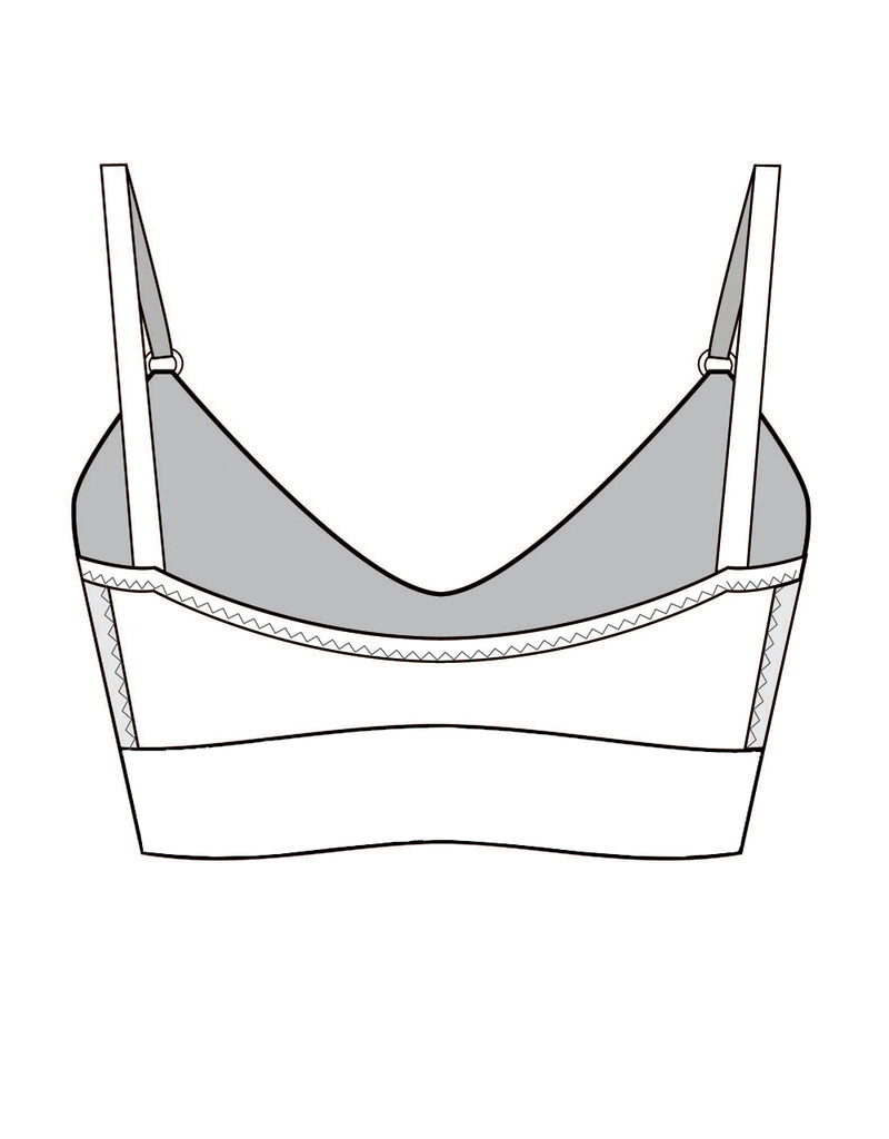 Organic Cotton Bralette with Black Tencel and Underband Drawing Back Tizz and Tonic Made in Germany