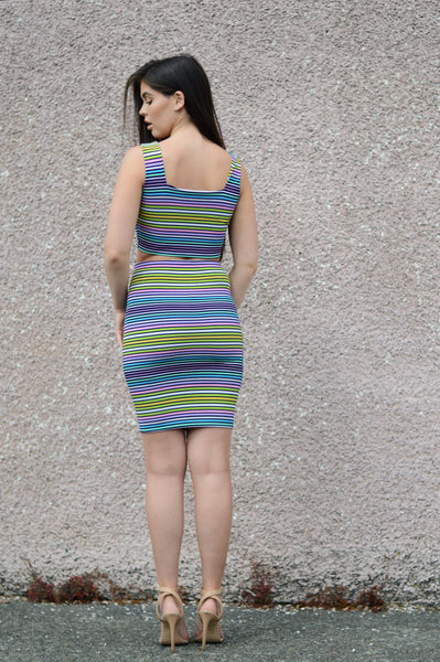 STRIPE MIDI SKIRT SET