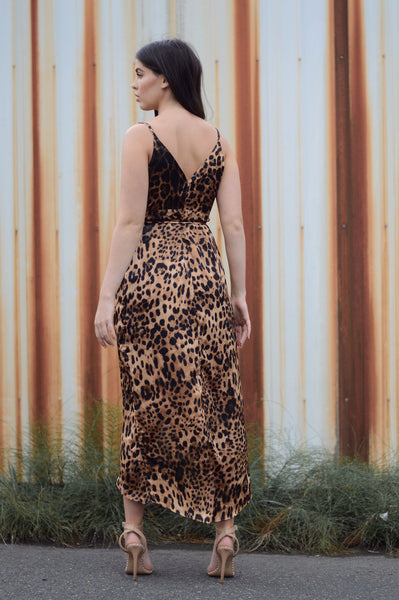 LEOPARD SILK WRAP DRESS