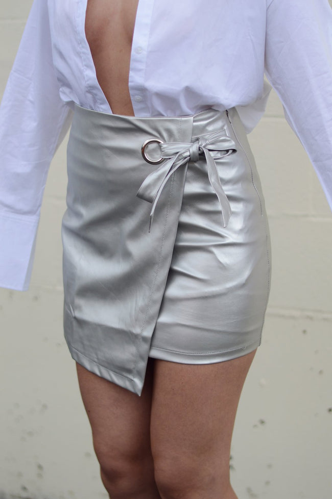 SILVER ASYMMETRICAL MINI SKIRT