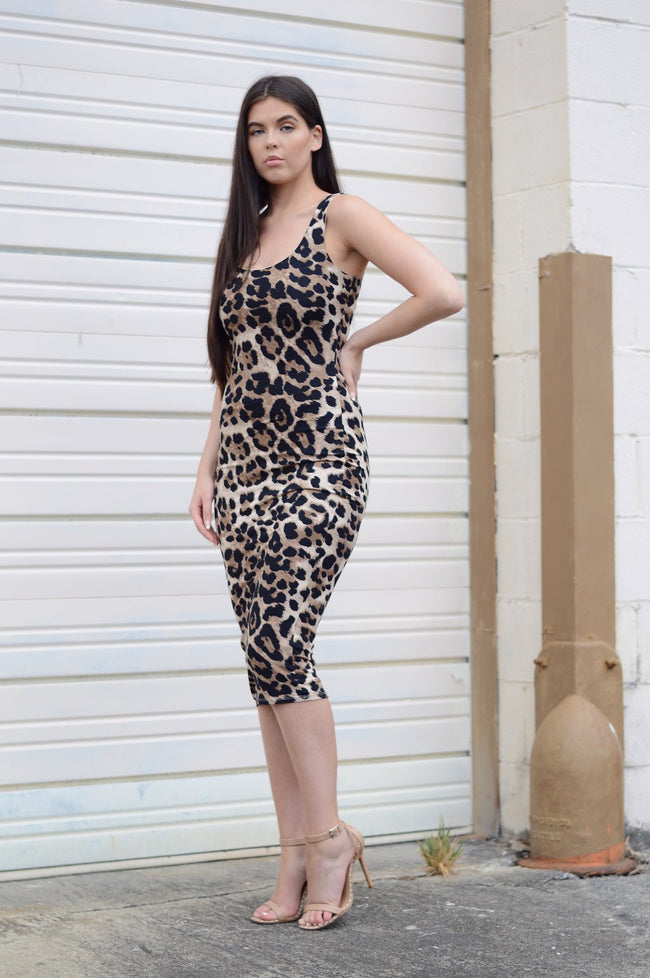 LEOPARD BODY CON MIDI DRESS