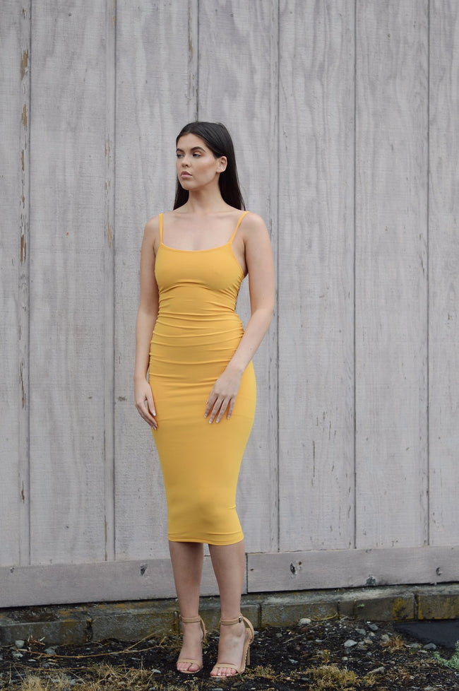 YELLOW BODY CON MIDI DRESS