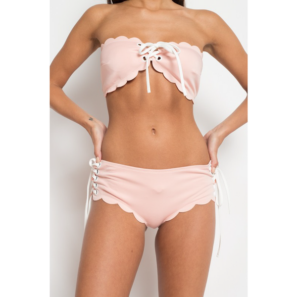 BABY PINK SCALLOPED EDGE TWO PIECE BIKINI