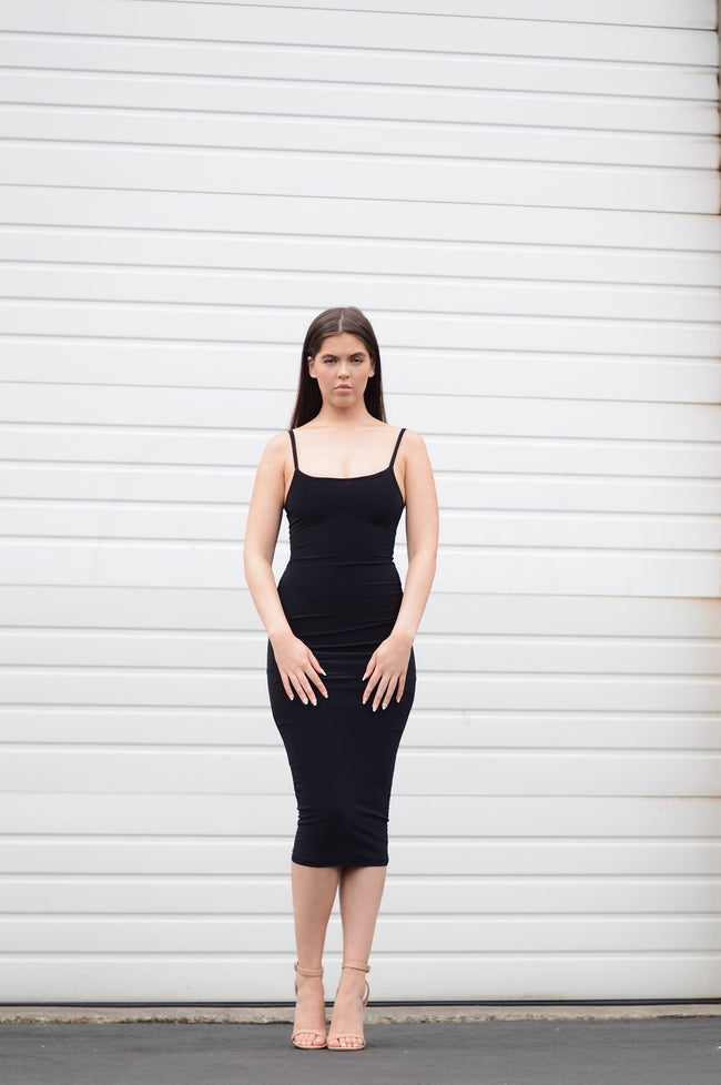 BLACK BODY CON MIDI DRESS