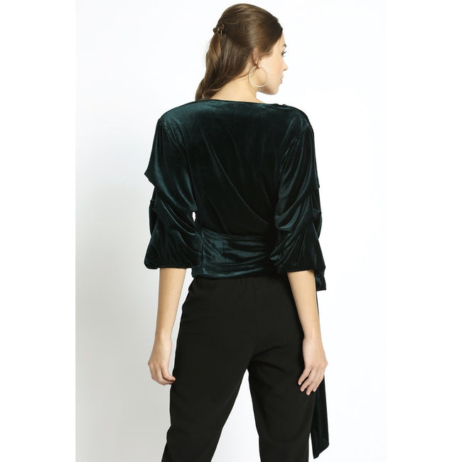 GREEN VELVET WRAP TOP
