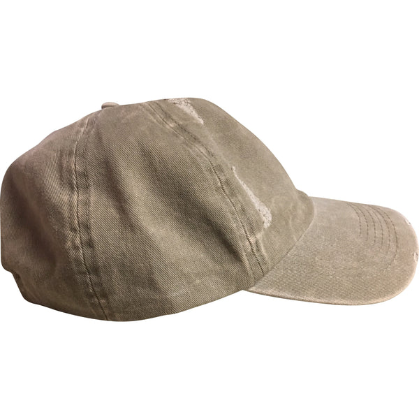 TAN WASHED DISTRESSED DAD HAT