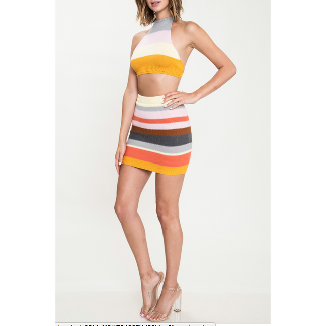 RAINBOW STRIPE TWO PIECE SKIRT SET