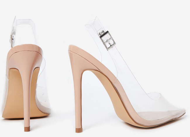 CLEAR NUDE SLINGBACK PUMPS