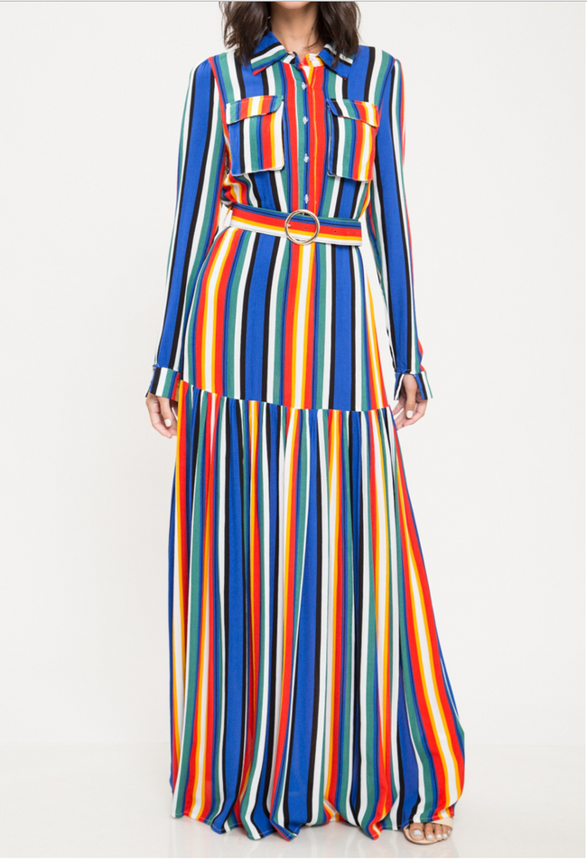 LONG SLEEVE STRIPE MAXI DRESS