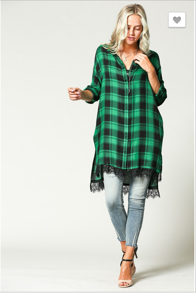 GREEN PLAID OVERSIZED TOP