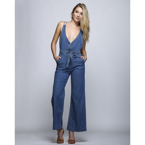 DEEP V DENIM ROMPER