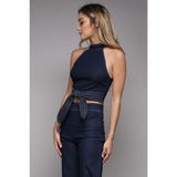 DENIM CROP TOP TWO PIECE PANT SET