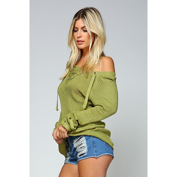 GREEN KNIT LACE UP SWEATER