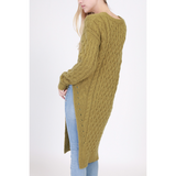 GREEN CABLE KNIT TUNIC SWEATER