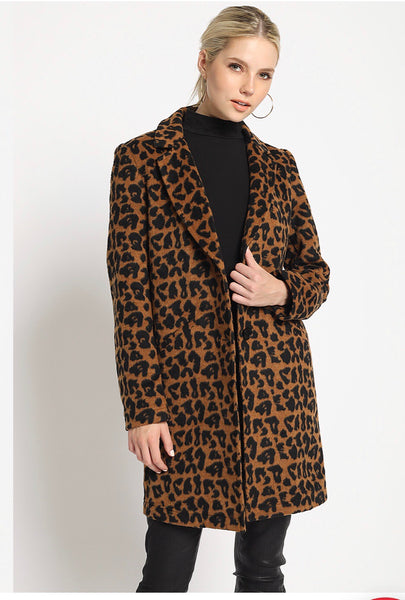 Leopard Print Wool Jacket