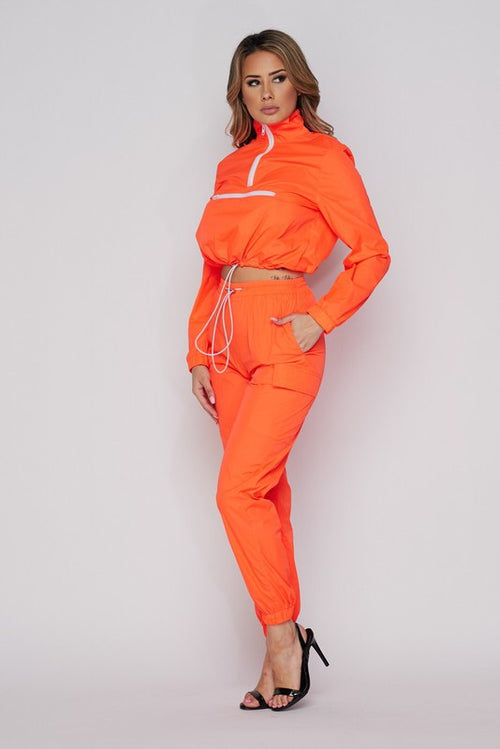 Orange Windbreaker Jogger Set