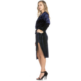 NAVY LOWCUT VELVET HOLIDAY DRESS