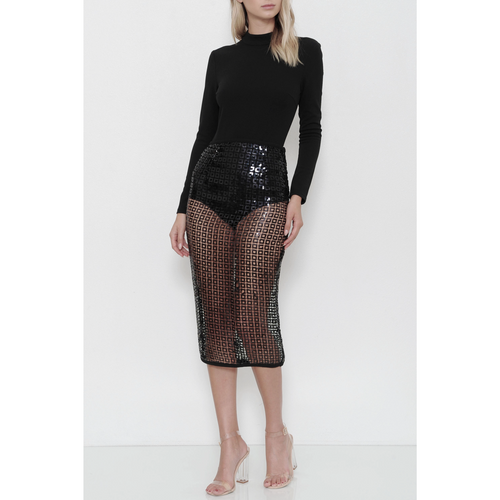 ALL FOR BAE BLACK SEQUIN MIDI SKIRT SET
