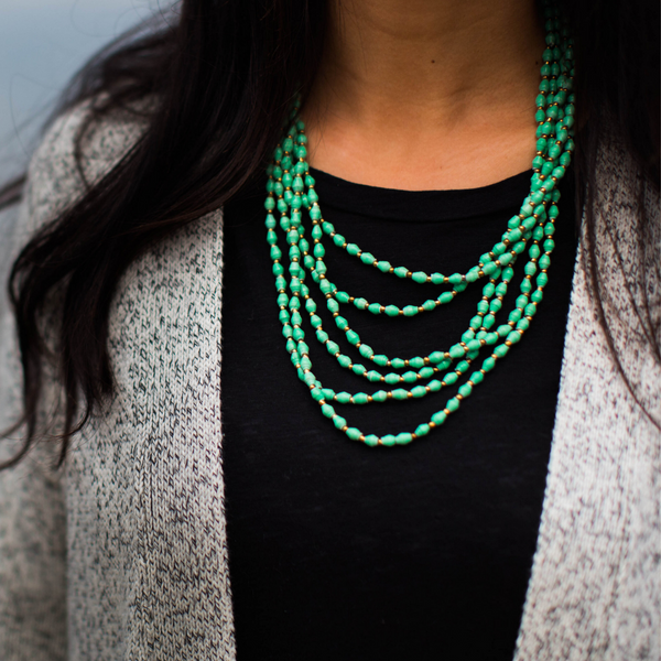 kiira necklace in blue-green