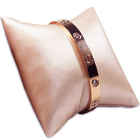 #11-3-S50 Champagne Pink Leatherette Pillow Bracelet & Bangle Display.