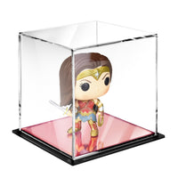 #1451PK Acrylic Display Case with Rose Gold Mirrored Base Memorabilia Display Case Mirrored Base Display Box Cube Display Case Display Cabinet Dust Cover