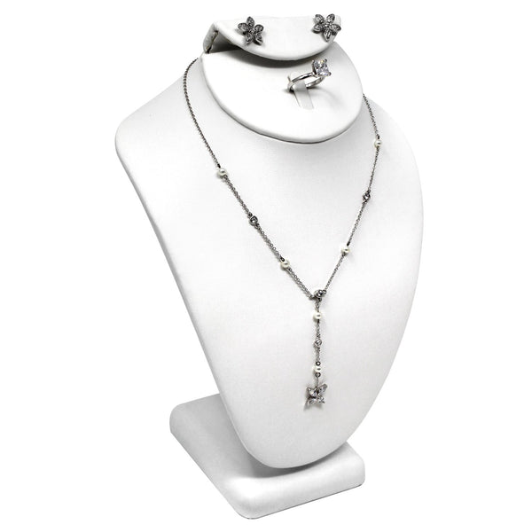 #189-7A Combination Necklace, Ring, and Earring Bust Display with Square Base