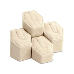 #201Q (BE) Beige Faux Suede Ring Pedestals Displays Set