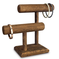#218-1CW 2 Tier Wooden T Bar Jewelry and Watch Display | Nile Corp